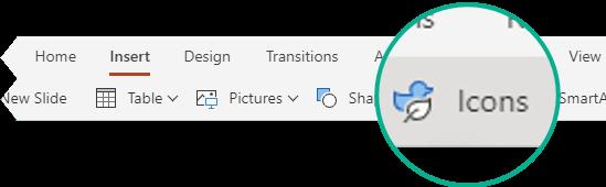 PowerPointi veebirakenduse menüü Lisa nupp ikoonid.