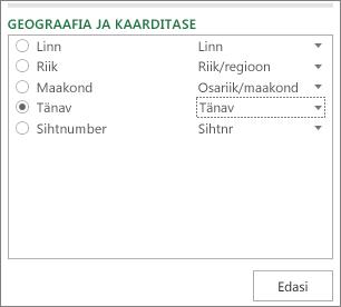 Geograafia ja kaardi tase tööpaanil