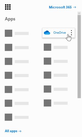Office 365 rakendusekäiviti koos esiletõstetud OneDrive'i rakendusega