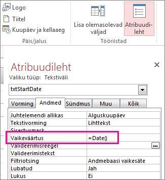 Atribuudileht, mille atribuudi Vaikeväärtus väärtuseks on seatud Date().