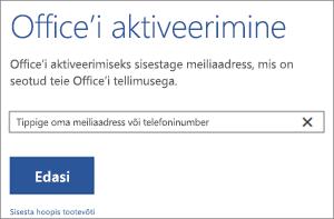 Kujutatud on dialoogiboks Aktiveerimine, kus saate Office'i aktiveerimiseks sisse logida