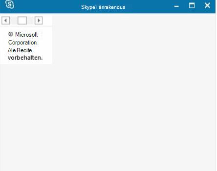 Skype'i ärirakenduse tühi avatud aken
