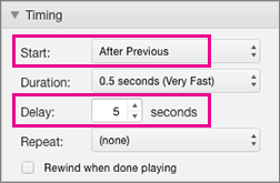 Display bullet points automatically by setting timing to After previous and specifying a delay