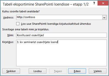SharePointi eksportimise viisardi dialoogiboks