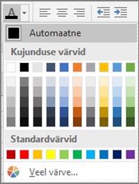Fondivärvi menüü Exceli Windowsi töölauarakenduses.