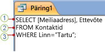 SQL-objektivahekaart, kus on kuvatud SELECT-lause