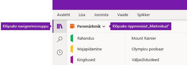 Märkmike loendi laiendamine OneNote'is Windows 10 jaoks