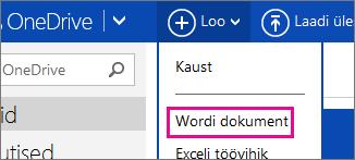 OneDrive'i abil Wordi dokumendi loomine