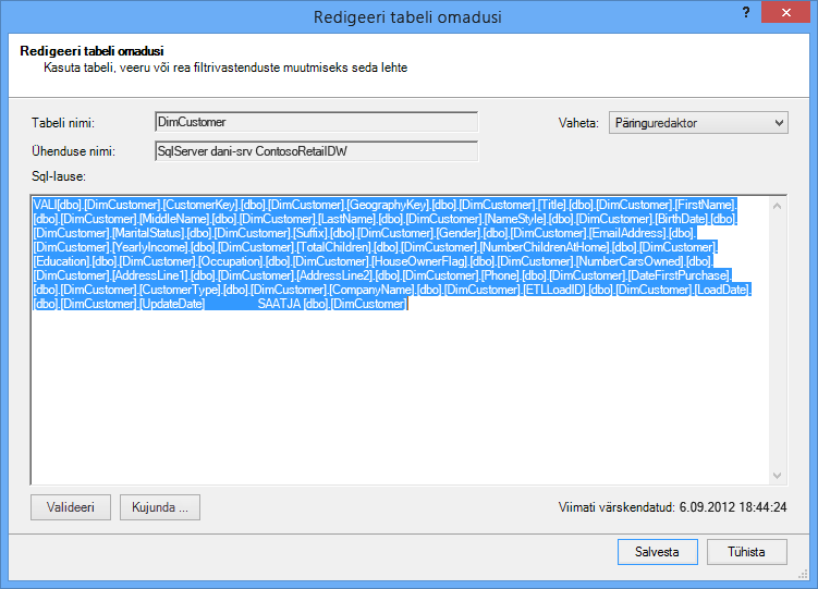 Andmete toomiseks kasutatav SQL-päring