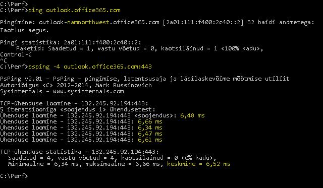 Kuvatõmmis ping-käsu saatmisest lehele outlook.office365.com ja PSPing-käsust, mis teeb pordi 443 kaudu sama ning tagastab RTT väärtuseks 6,5 millisekundit.