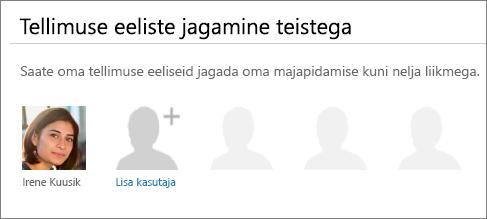 """Lehe """"Office 365 ühiskasutus"""" jaotise """"Tellimuste eeliste ühiskasutus"""" kuvatõmmis, kus on näha link """"Lisa kasutaja""""."""