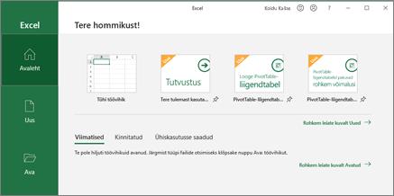 Exceli töövihiku loomine