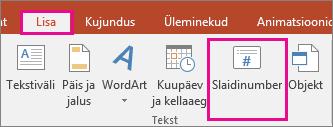 Slaidinumbri nupu pilt PowerPointi lindil