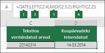 Tekstistringide ja arvude teisendamine kuupäevadeks