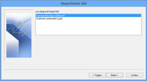 Outlooki ekspordiviisard – CSV-faili valimine
