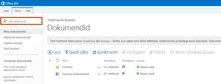 Office 365 OneDrive'i päringuvälja kuvatõmmis.
