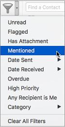 Meilisõnumite filtreerimise menüüs mainimiste järgi filtreerimise valik, et leida sõnumid, kus teid on mainitud