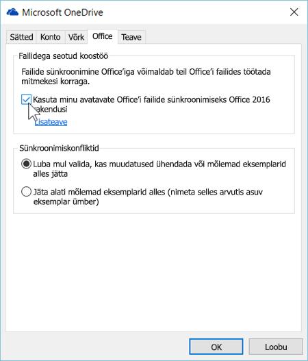 Kuvatõmmis uue OneDrive for Businessi sünkroonimiskliendi sätete vahekaardist Office