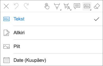 OneDrive iOS-i PDF-i märgistus teksti menüü