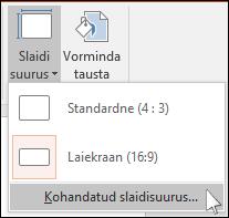 Valige lindimenüüs Kujundus nupp Slaidi suurus ja siis Kohandatud slaidisuurus.