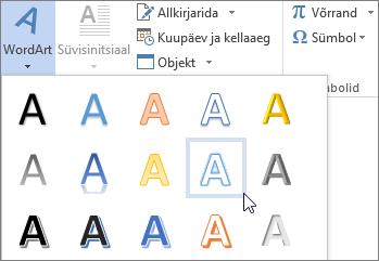 WordArt-objekt suvandi objekt