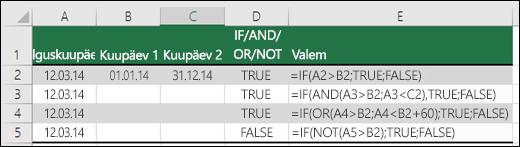 Näited funktsiooni IF kasutamise kohta koos funktsioonidega AND, OR ja NOT kuupäevade hindamiseks