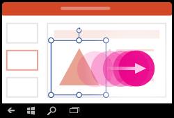 Kujundi teisaldamise žest Windows Mobile'i jaoks loodud PowerPointis