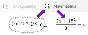 """Tipitud võrrand, nupp """"Matemaatika"""" ja teisendatud võrrand"""