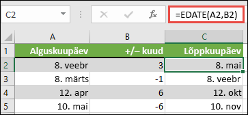 Kasutage funktsiooni EDATE liitmine või kuupäevast kuude lahutamine. Sel juhul, kui A2 on kuupäev =EDATE(A2,B2) ja B2 on kuude liitmine või lahutamine arv.