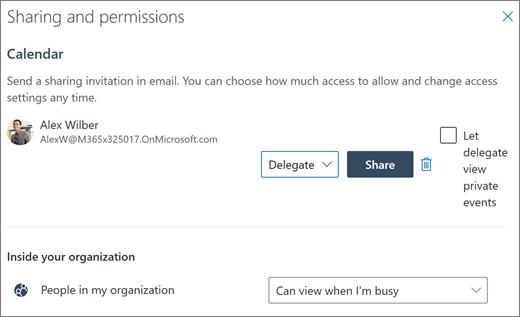 Kalendrile juurdepääsu delegeerimine Outlooki veebirakenduses