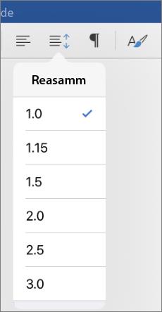 Kuvatõmmis, millel on kujutatud iPadi jaoks mõeldud Wordi reasammusuvandid.
