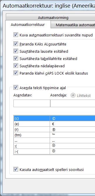 Dialoogiboks Automaatkorrektuur