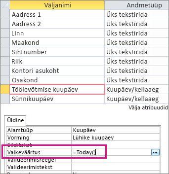 Välja Kuupäev/kellaaeg vaikeväärtuse seadmine Accessi tabelis.