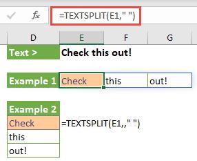 """Tekstistringide tükeldamiseks teie määratud piiritlejate abil kasutage funktsiooni TEXTSPLIT. Selles näites jagame teksti lahtris E1 iga kord ruumi = TEXTSPLIT (E1, """""""")."""