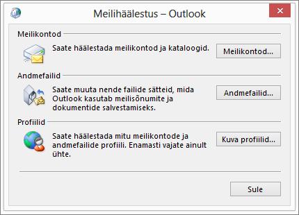 E-posti dialoogiboksi juhtpaneelil