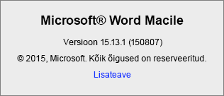 """Kuvatõmmis rakenduse Word for Mac lehest """"Wordi teave""""."""