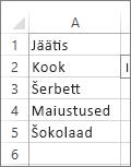 lijst met waarden voor gebruik in keuzelijst met invoervak