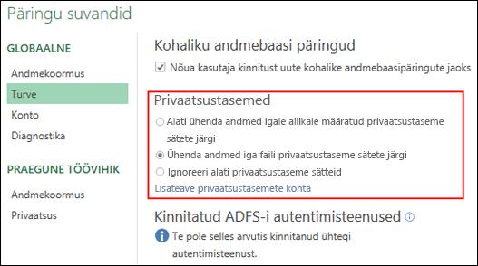 Power Query – privaatsustaseme viipade keelamine arvuti tasemel (hõlmab ka registrivõtit)