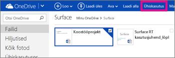 Klõpsake OneDrive'is ühiskasutuse nuppu