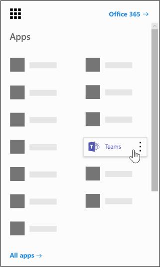 Office 365 rakendusekäiviti koos esiletõstetud Outlooki rakendusega