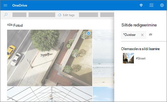 Siltide redigeerimine OneDrive'is.