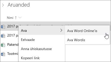 Faili avamine rakenduses Word Online OneDrive'is