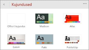 PowerPoint for Windows Phone'id menüü teemad.