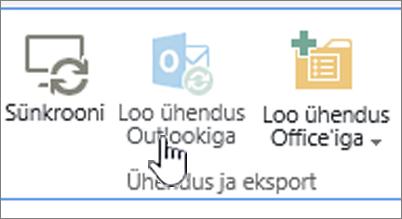 Lint, kus on esile tõstetud keelatud nupp Loo ühendus Outlookiga
