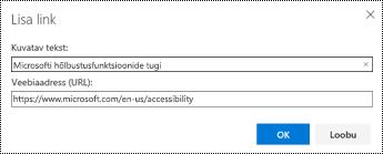 Hüperlingi dialoogiboksi Outlooki veebirakenduses.