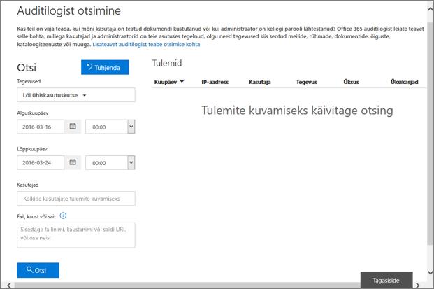 Office 365 tegevusaruanne, mis on kutse loomiseks filtreeritud
