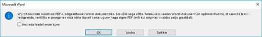 Wordi kinnitab, et see proovib ümberpaigutus avatud PDF-faili.