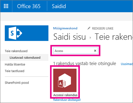 Searching for an Access app from the Add an app page in SharePoint