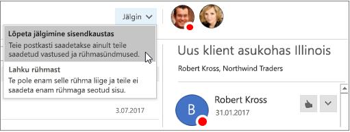 """Päise """"Outlook 2016 rühmad"""" nupp Telli"""