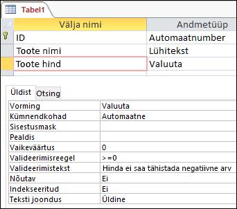Välja valideerimisreegli kuvamine Accessi tabelikujundajas